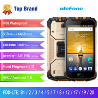 Ulefone Armor 2 Waterproof IP68 Smartphone 5.0 Helio P25 Octa Core 6GB 64GB 2.6Ghz Android 7.0 16MP Fingerprint Mobile Phone