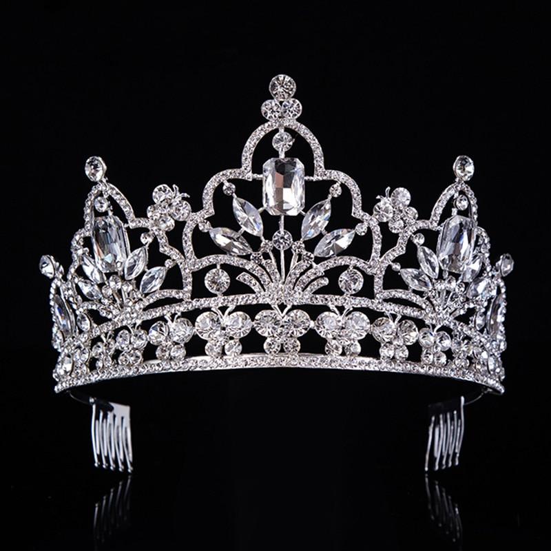 2a12b2505d US $14.24 25% OFF|Gorący srebrny kryształ duża królowa korona dla miss  szlachetny Rhinestone Diadem tiary dla księżniczki opaski akcesoria do ...