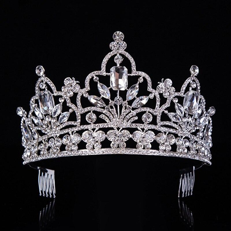hot Silver Crystal velká královna průvod koruna vznešené drahokamu diadém čelenky pro princezny čelenky svatební vlasové doplňkyT-029