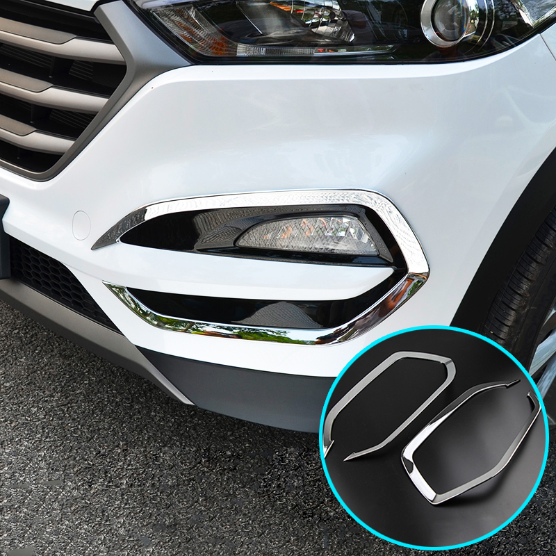 FRONT+REAR FOG LIGHTS COVER 4PCS FOR 2015 2016 HYUNDAI TUCSON LAMP ABS CHROME TRIM INSERT BEZEL FRAME STYLING Car-Styling