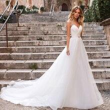 Ashley Carol Beaded V-neck Beach Wedding Dresses