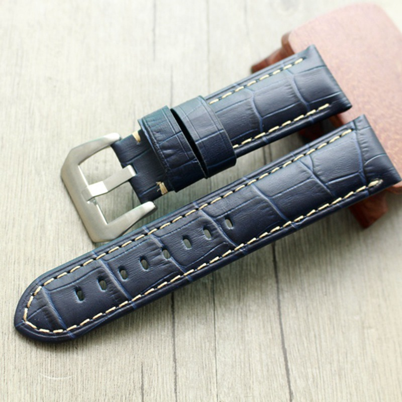 22MM 24MM 26MM Dark Blue Crocodile Pattern Genuine Leather Watchband Watch Strap For PAM 42MM 44mm 47mm Dial Bracelet