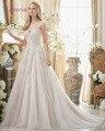 Loverxu Sexy Elegante Botão Querida Apliques Uma Linha de Vestidos de Noiva 2016 Frisado Cintas de Espaguete Vestido de Casamento Do Vintage Plus Size