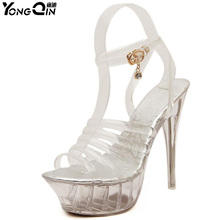 Sexy PVC  Sandals Crystal Open Toed High Heels Women Transparent Heel Pumps Shoes