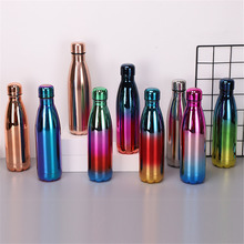 Rose Gold Thermos BPA Free Water Bottle Gradient Portable Stainless Steel Insulated Sport Bicycle Vacuum Flask Cup