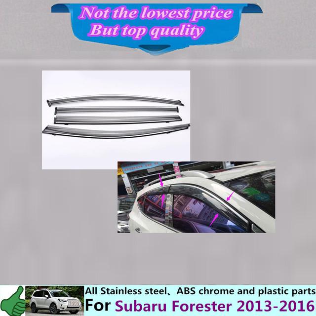 Envío libre Su6aru Forester 2013 2014 2015 2016 carrocería lámpara de cristal de la Ventana de plástico palo de Viento Del Visera Lluvia/Sol Guardia Vent 4 unids