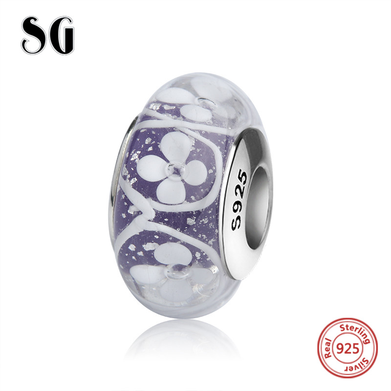 SG silver 925 blue Murano glass beads charms with white flower petal fit original pandora bracelets jewelry accessories gifts in Beads from Jewelry Accessories