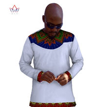 New Fashion 2017 African Wax Men T Shirt Custom Long Sleeve Mens Tops  African Clothing Dashiki Men Shirt Plus Size WYN64 363ef9e9cb21