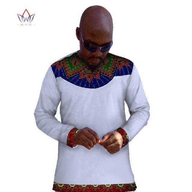 Nouvelle Mode 2017 Africain Cire Hommes T Shirt Personnalisé Longue manches  Hommes Tops Vêtements Africain Dashiki a3b43a853b4