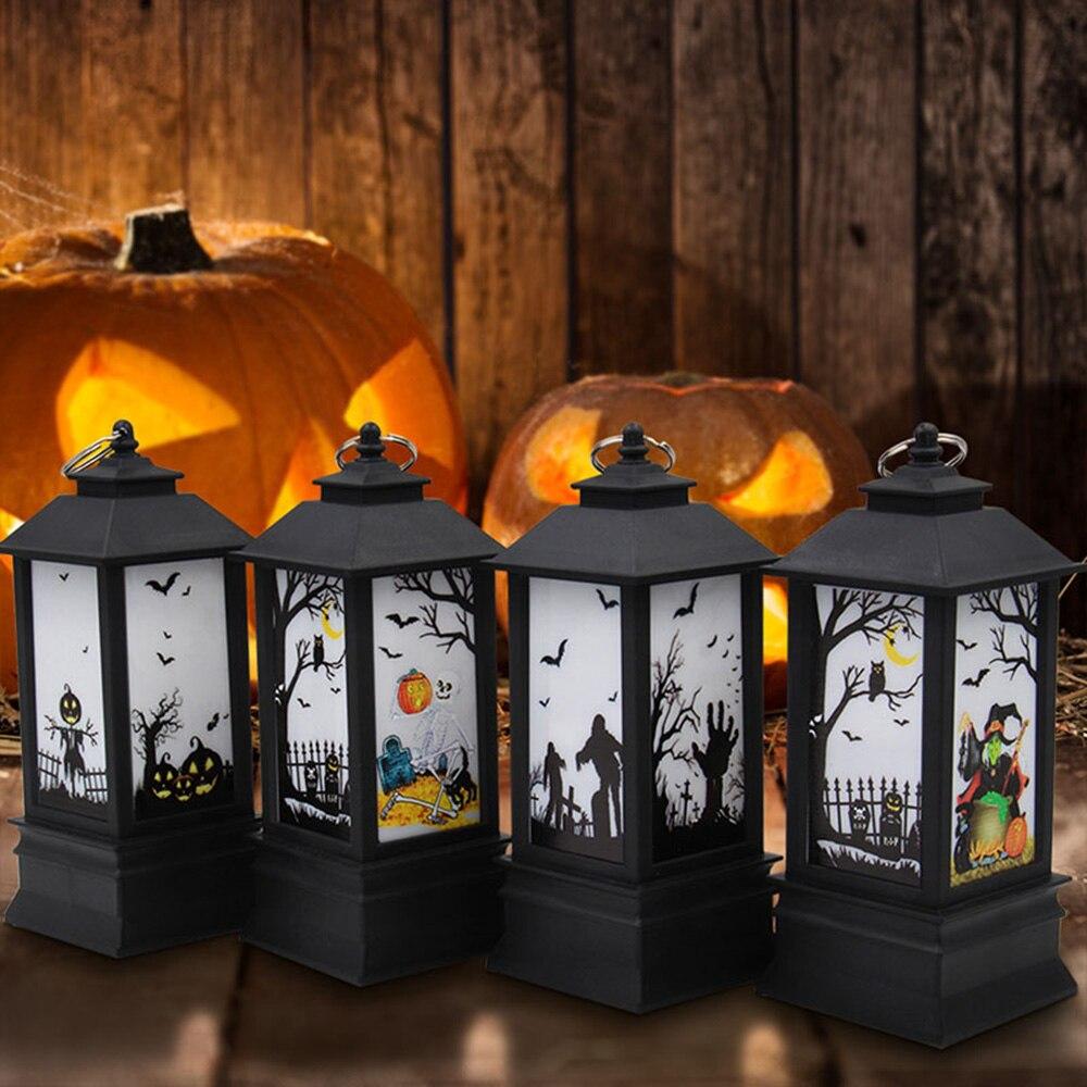 Halloween Vintage Lantern Party Hanging Decor LED Light Lamp Portable Nightlight