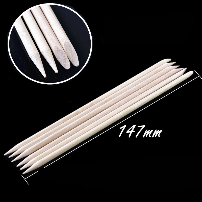 20pcs 147mm Orange Sticks Cuticle Pusher Cuticle Remover Nail Art Care Manicure Nail Tools Double Sided Nail Polish Wood Stick