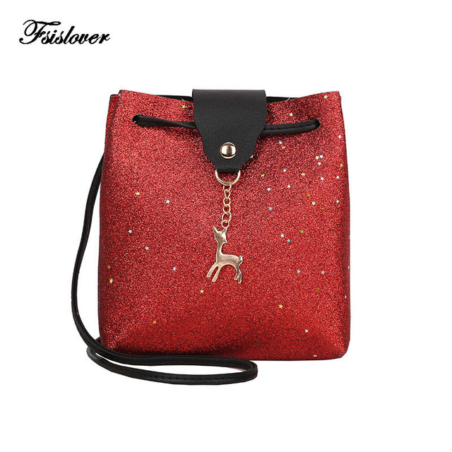 Bags for women 2018 Women Shoulder Bags Fashion Sequins Mini Bag With Deer  Toy Shell Shape 26bdf01c6d1ae