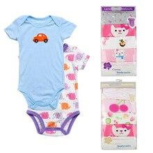 5pcs/lot Baby Short-sleeve bodysuit baby boy jumpsuit Newborn cotton Clothing Jumpsuits &