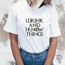 Женская футболка с коротким рукавом I Drink and I Know Things, летняя хлопковая Футболка с круглым вырезом, черный топ