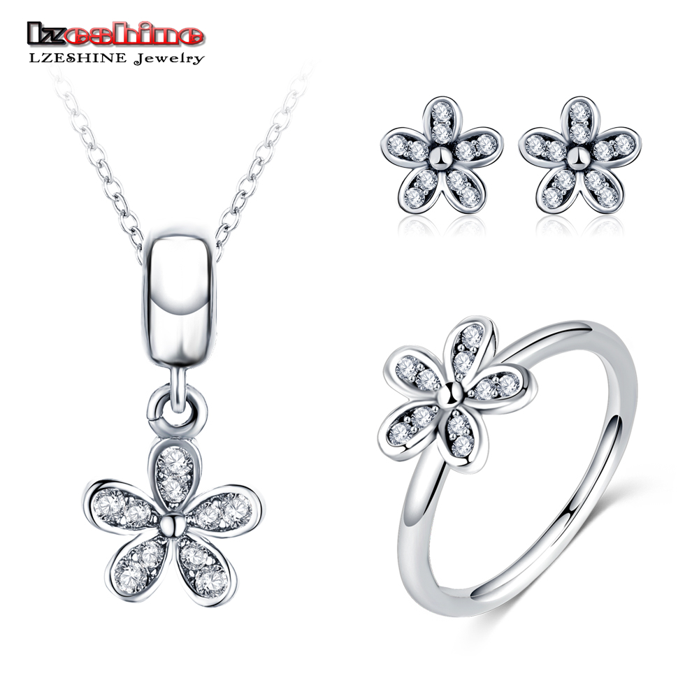 LZESHINE Fashion Silver Color Daisy Flower Jewelrys