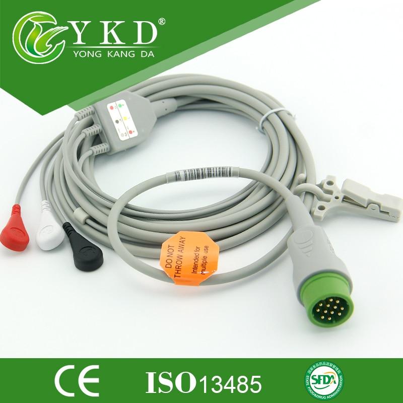 Eendelige 12Pin 3-leads ECG-kabel en leadwires met Snap voor - Huidverzorgingstools - Foto 1