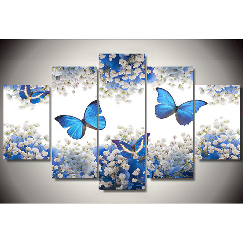 DIY Drill 5D Diamond Painting Blue Butterfly Cross Stitch Decor Gifts  Practice