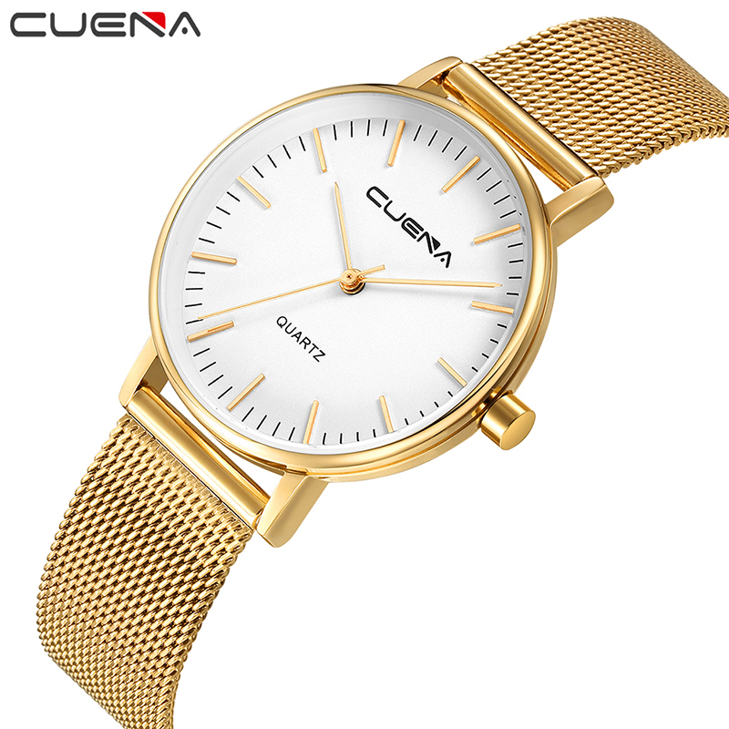 CUENA Fashion Casual Women Watch Ladies Watches Top Brand Luxury Quartz Wristwatches Stainless Steel Relogios Feminino Relojes watches women fashion watch 2016 top belbi brand casual ladies alloy quartz watch round mirror waterproof womens wristwatches