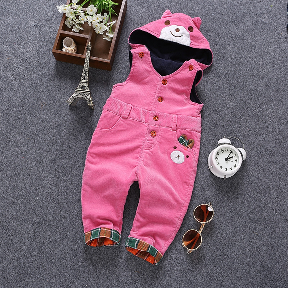 6m- 3Years Baby Winter Overall Toddler Warm Velvet Bear Hooded Rompers Infant Long Pants Kids Girls Boys jumpsuit Pink Blue