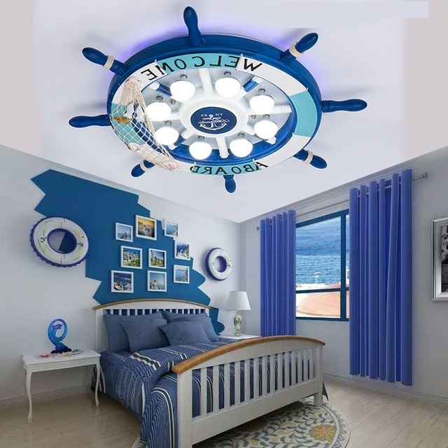 led plafond verlichting middellandse creatieve kinderkamer plafond lampen slaapkamer jongens roer cartoon armatuur zh et57