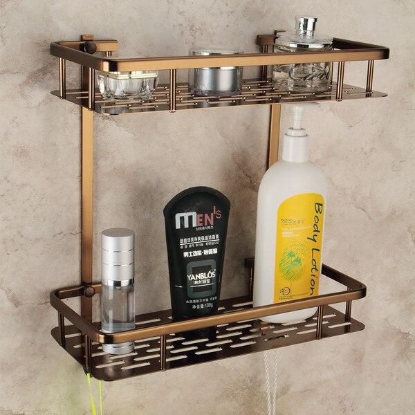 Antique Space Aluminum Double Wall Mounted Bathroom Shelf Bath Shelves Brass Bathroom Accessories Free Shipping