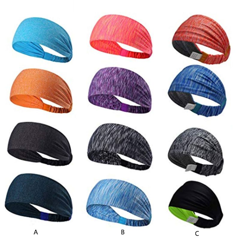 4Pcs/Set Unisex Headband Colored Digital Printing Elastic Wide Athletic Hairband Stretchy Ruched Head Wrap Fitness Sweatband