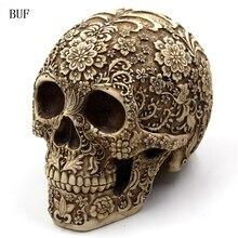 Buf смолы ремесло Хеллоуина череп Статуи творческий бар украшения череп статуя Скульптура