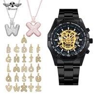 WINNER Punk Black Skull Skeleton Auto Mechanical Watch Men Hip Hop Jewelry Set + HOT 26 Alphabet ABC Iced Out Necklace for Man