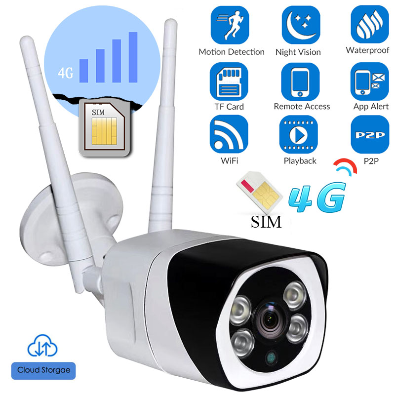 Caméra extérieure 3G 4G carte SIM Full HD 1080 P sans fil Wifi caméra IP balle étanche CCTV IR Vision nocturne P2P carte SD sécurité
