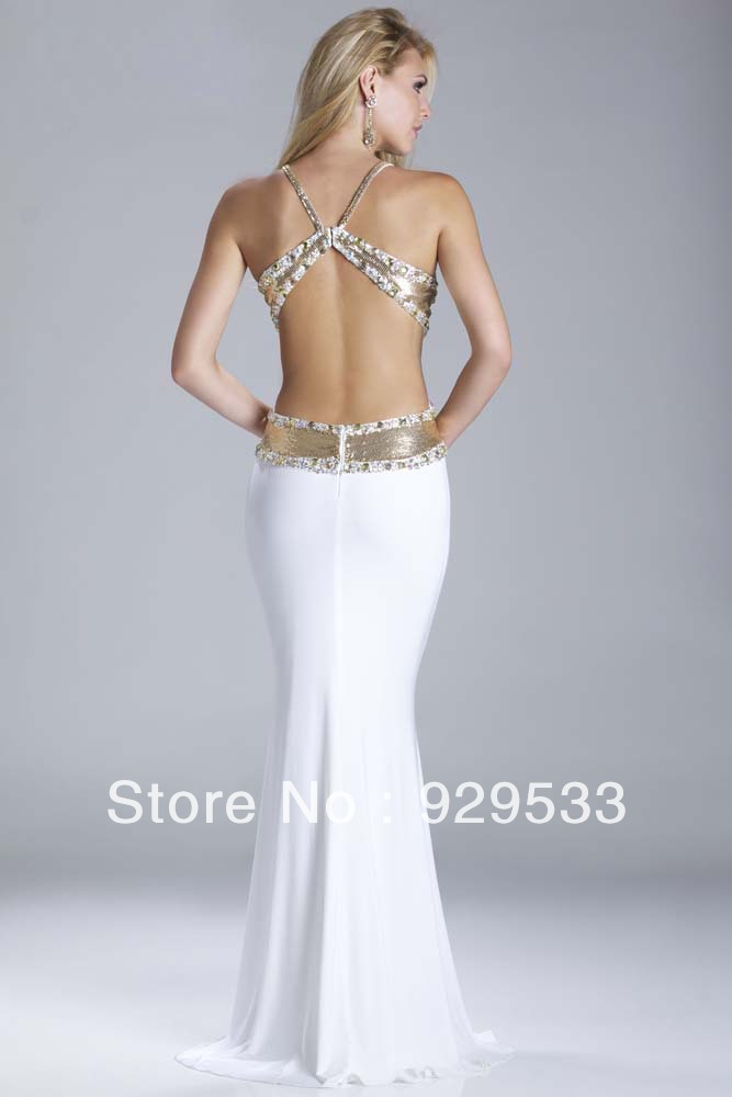 New Arrival White Deep V neck Backless Gold Sequin Embellished Sexy Mermaid  Pageant Dress Spandex Prom Dress Ball Gown-in Prom Dresses from Weddings ... 1dd2d79fb26b