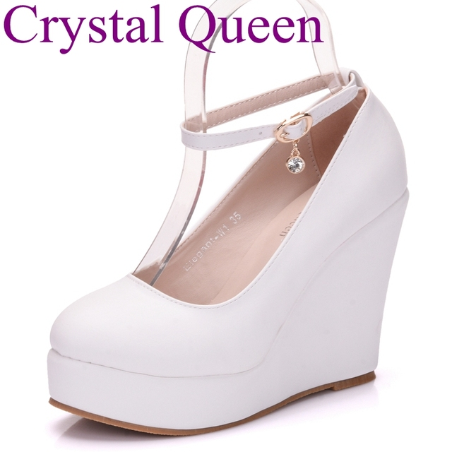 Crystal Queen White wedges shoes wedges pumps women platform high heels  round toe white high heels shoes platform wedges shoes 2e531f04f9bd