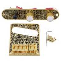 Yibuy Gold Black Pre Wired Control Plate 3 Way Switch Knobs Tremolo Bridge For Electric Guitar