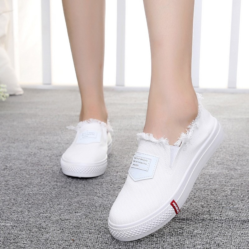Haolida 2017 Autumn New Canvas Shoes Ladies Korean Version Of The Tide Stripe Shallow Mouth Flat Shoes Wome Casual Shoes 2015 summer shallow mouth of canvas shoes women shoes a pedal lazy shoes casual flat white shoes korean wave shoes