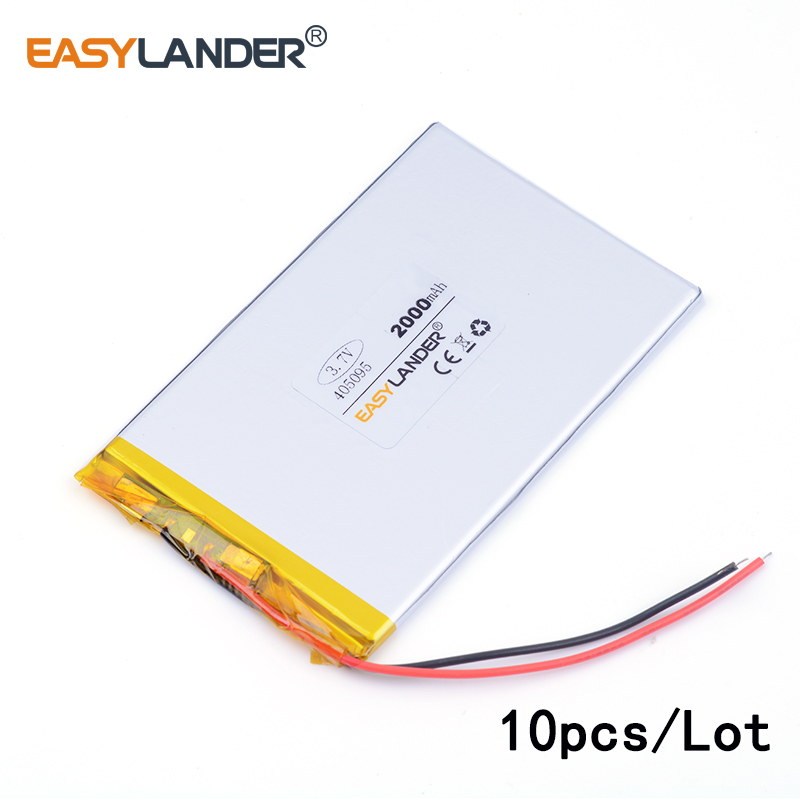 10pcs /Lot 3.7v lithium Li ion polymer rechargeable battery 405095 2000MAH For tablet pc ...
