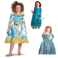 Tangled Rapunzel Brave Merida Princess Costume Fancy Dress for Girl Cartoon Movie Costume