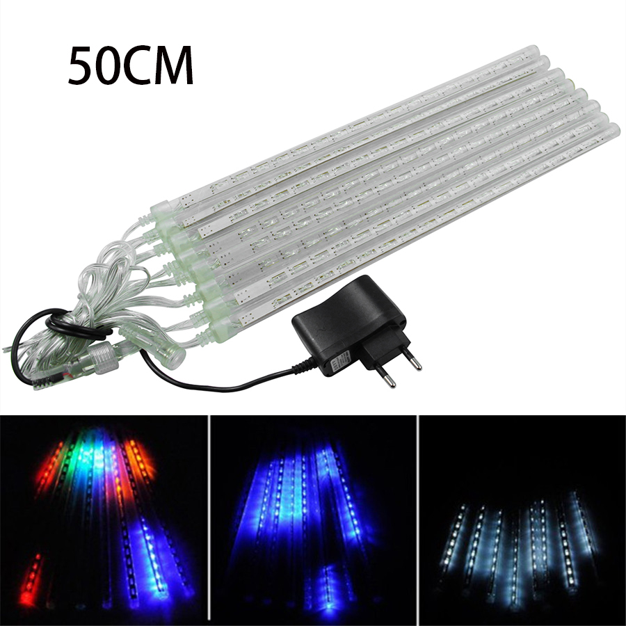 Multi-color 50CM Meteor Shower Rain Tubes AC100V 220V LED Christmas Lights Wedding Garden Xmas String Light Outdoor EU Plug ...
