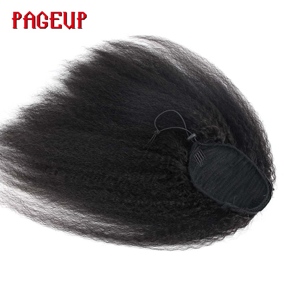 Pageup Kinky Afro Ponytail Clip In Hair Extensions Natural Color Synthetic Kinky Straight Malaysia Real Hair Drawstring Ponytail