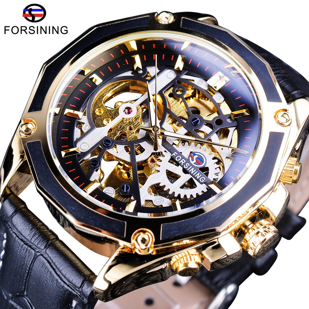 Forsining Luxury Open Work Series Transparent Case Self-Winding Watches Automatic Man Clock Skeleton Watches Top Brand Luxury forsining 3d skeleton twisting design golden movement inside transparent case mens watches top brand luxury automatic watches