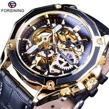 Forsining luxe série de travail ouvert boîtier Transparent montres à remontage automatique homme horloge squelette montres Top marque de luxe