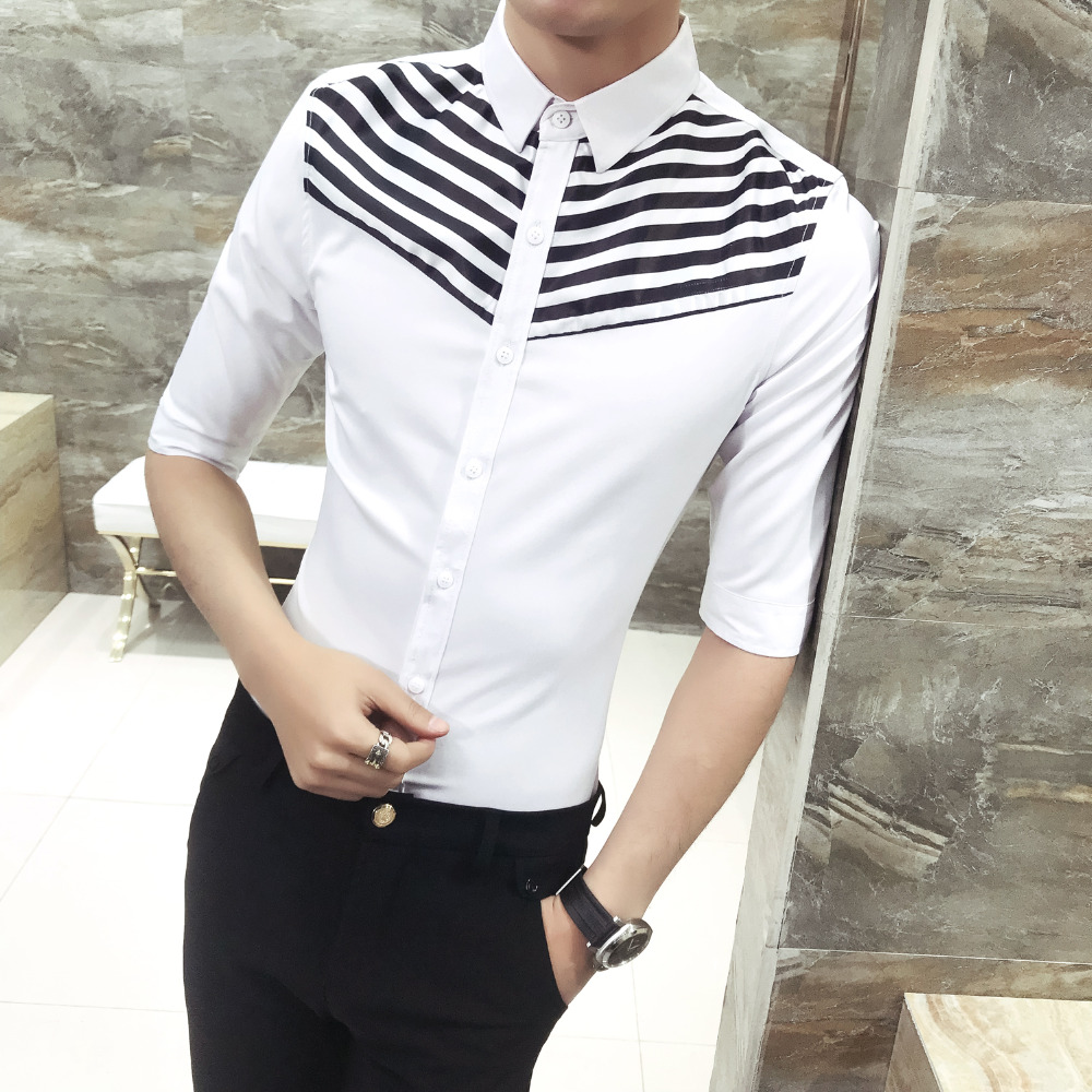 Quality Tuxedo Shirt Men 2018 Summer Slim Fit Half Sleeve Stripe Patchwork Social Shirts Dress Comfortable Casual Work Shirt 3XL