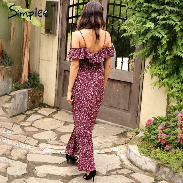 Simplee Boho print ruffle mermaid long dress Sexy off shoulder backless summer dress Elegant party maxi dress vestidos
