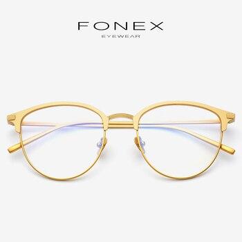 fe0efe8823 Gafas de titanio puro montura para hombres Vintage con prescripción redonda  de miopía gafas ópticas gafas Retro para mujer 865
