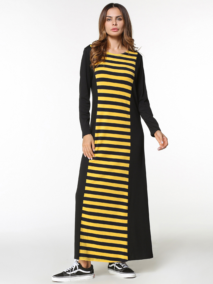 185404 Euramerica New Long Sleeve Stripped Dress Mujer Vestidos Hot Sell Musulman Dresses Vestidos in Islamic Clothing from Novelty Special Use