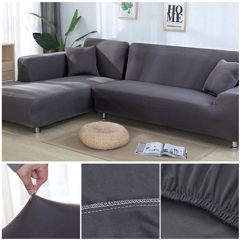 L shaped Solid Sofa Cover with Elastic for Sectional and Corner Sofa with Deep Gap Suitable in Living Room and Office 17
