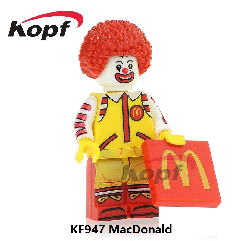 Building Blocks KF947 Single Sale Ronald McDonald Red Round Hair with Jokers Face Classi ...