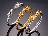 David Kabel Elastic Adjustable Men S Dragon Cuff Bracelet Stainless Steel Twisted Viking Wire Cable Bracelets