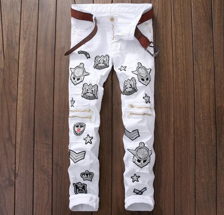 European American Style 2016 Men casual denim trousers cotton luxury famous brand jeans Straight slim zipper white jeans for men цены онлайн
