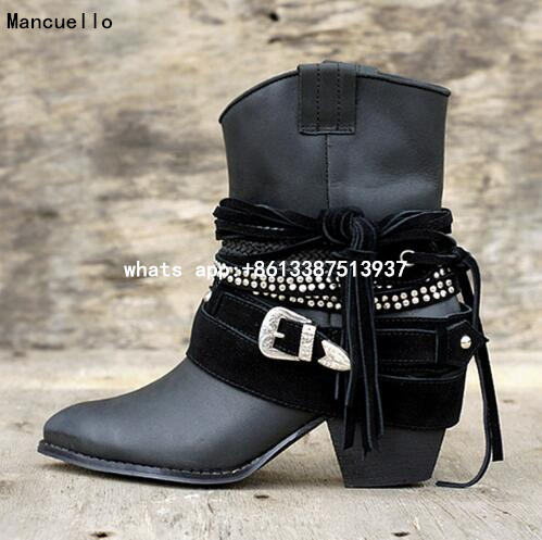 Fashion Fringe Women Short Chelsea Boots Black Genuine Leather Thick High Heels Shoes Woman Pointed Toe Metal Buckle Booties