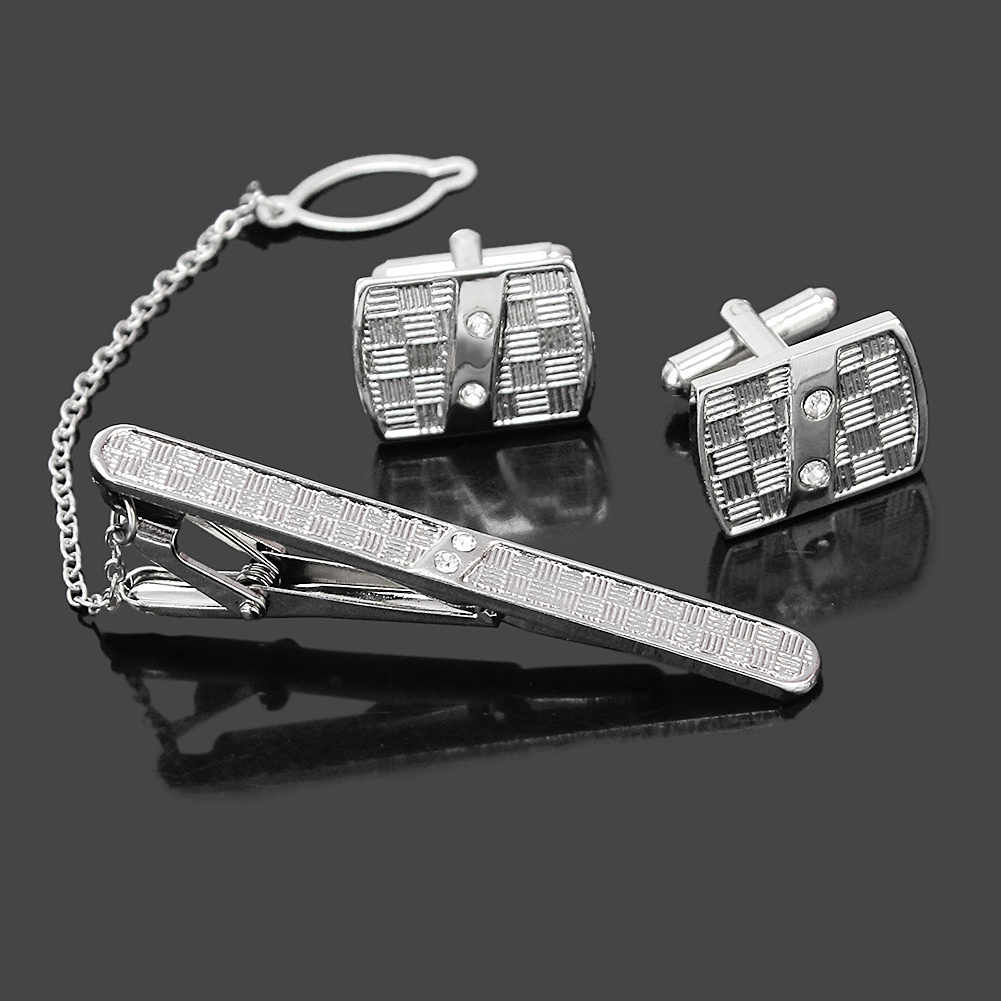 Refaxi Refaxi 1 Set Fashion Men's Shirt Costume Tie Clip Clasp Rhinestone Crystal Sleeve Cuff Links Wedding Party Jewelry Groom