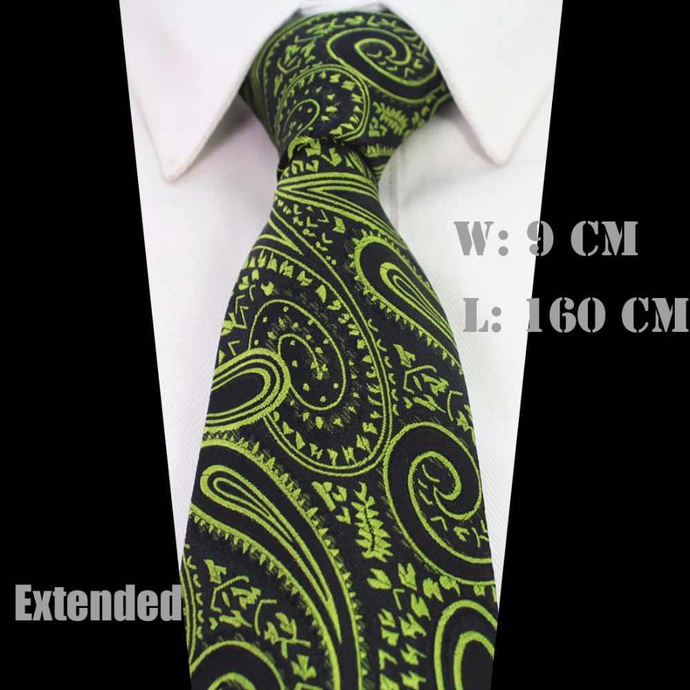 """Ricnais New 63"""" Extra Long Size Tie For Men 160cm*9cm Necktie Floral Paisley Big Size Man Silk Neck Tie Suit Wedding Party"""